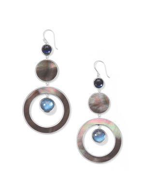 Wonderland Sterling Silver, Shell & Doublet Drop Earrings