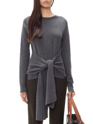Tie-Waist Crewneck Wool Sweater