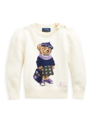 Little Girl's Puff-Sleeve Bear-Print Sweater