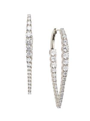 Rockslide Silvertone & Cubic Zirconia Tapered Hoop Earrings