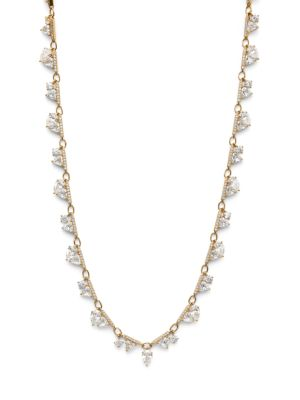 Dia 18K Yellow Goldplated Sterling Silver & Cubic Zirconia Shaky Necklace