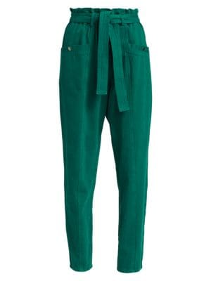Metta Denim Paperbag Tie Waist Pants