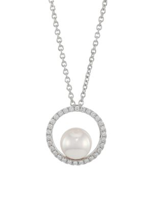 Japan 18K White Gold, 7MM White Cultured Akoya Pearl & Diamond Pendant Necklace