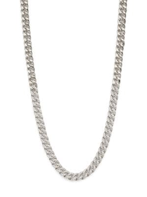 Rhodium-Plated Silver & Cubic Zirconia Curb-Link Collar Necklace