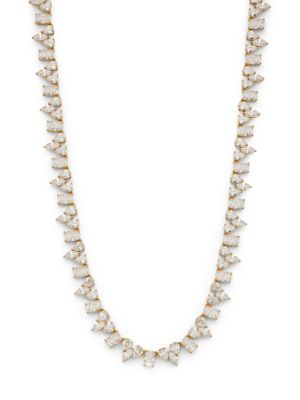18K Goldplated Silver & Mixed Cubic Zirconia Collar Necklace