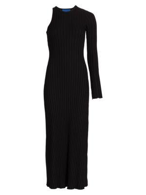 Knoll Asymmetrical Ribbed Midi Dress