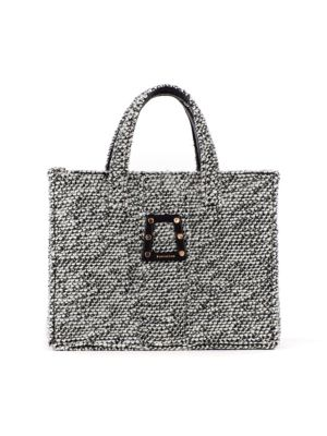 Book Woven Tweed Tote