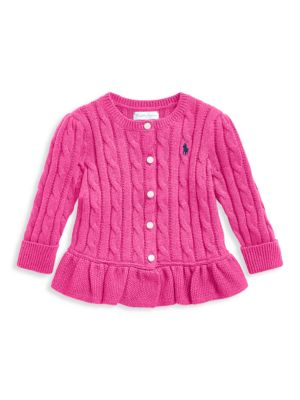 Baby Girl's Cable Knit Peplum Cardigan
