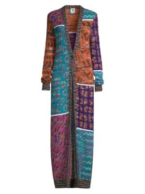 Patchwork Mohair-Blend Duster Cardigan