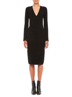 V-Neck Knit Long-Sleeve Dress