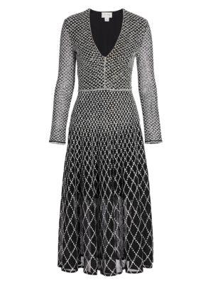 Diamond-Knit Midi Dress