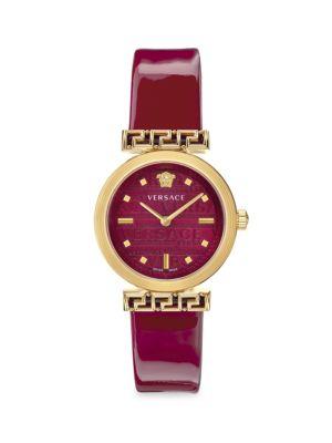 Meander Goldtone Leather Strap Watch