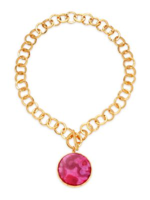 22K Goldplated & Magenta Agate Pendant Hammered Link Necklace