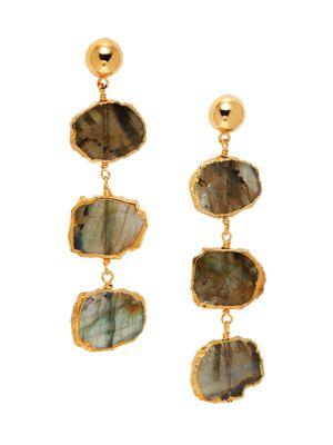 22K Goldplated & Labradorite Triple-Drop Earrings