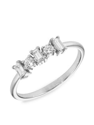 18K White Gold & Diamond Baguette Ring