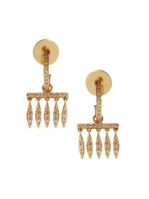 Grass 18K Yellow Gold & Brown Diamond Dewdrops Charm Huggie Hoop Earrings