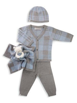 Baby Boy's 4-Piece Plaid Cardigan, Pants, Beanie & Buddie Bundle