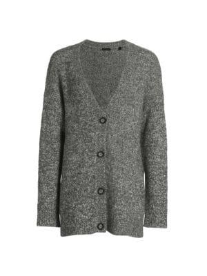 Cotton-Blend Button-Front Cardigan
