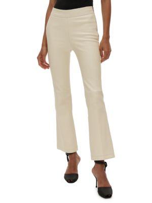 Leather Straight-Leg Pants