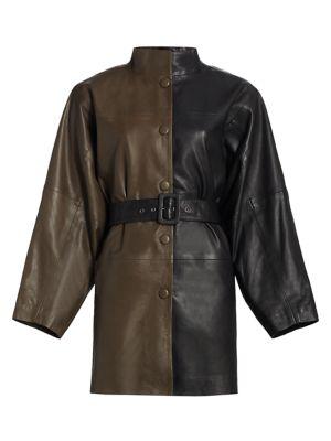 Suri Leather Colorblock Safari Coat