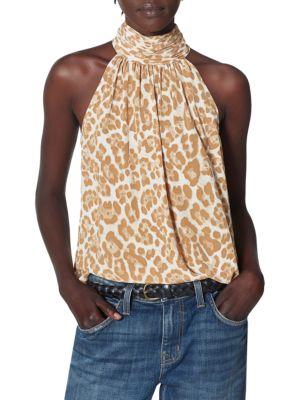 Erola Leopard Silk Halter Top