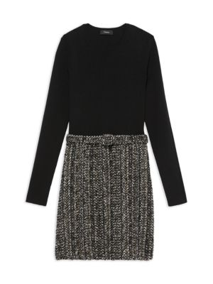 Long-Sleeve Ribbed Combo Knit Dress