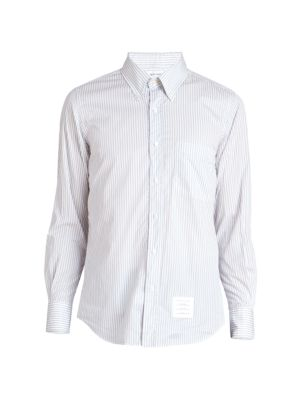 Straight-Fit Pinstripe Button-Front Shirt