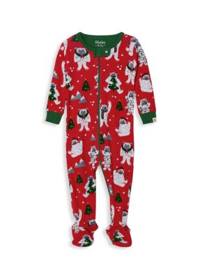 Baby's Yuletide Yetis Organic Cotton Footed Coverall