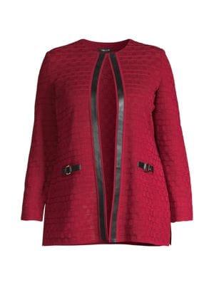 Faux Leather Trim Grid Knit Jacket