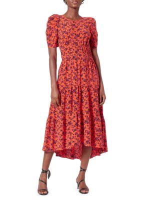 Nadeen Floral Silk Midi Dress