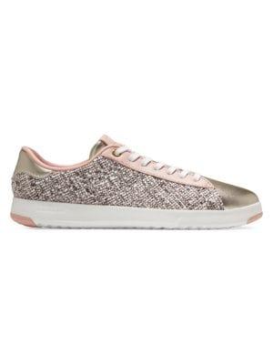 GrandPro Tennis Tweed & Metallic Leather Sneakers