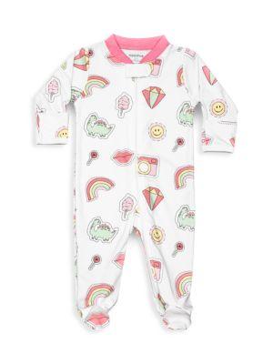 Baby Girl's Patches Zipper Footie
