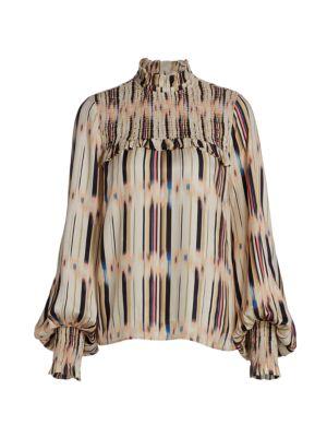 Lupita Smock Rainbow Puff-Sleeve Blouse