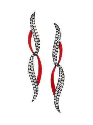 Diamonds In Color 18K Yellow Gold, Black Rhodium, Diamond & Red Ceramic Linear Earrings