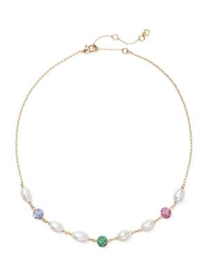 9MM Freshwater Pearl & Pavé Bead Station Collar Necklace