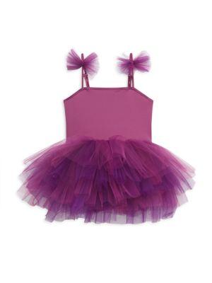 Little Girl's & Girl's I.L.Y Ruffle Square Neck Tutu Dress
