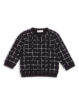 Baby's & Little Boy's Basics Grid Crewneck Sweater