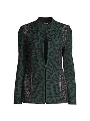 Leopard-Print Contrast Jacket