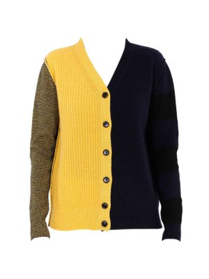 Colorblock Boyfriend Cashmere & Wool Knit Cardigan