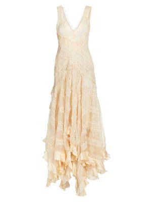Charm Star Lace Handkerchief Hem Slip Dress