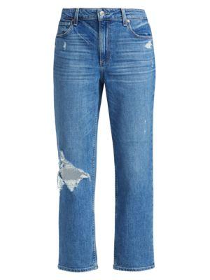 Noella Distressed Caballo-Inseam Straight-Leg Jeans