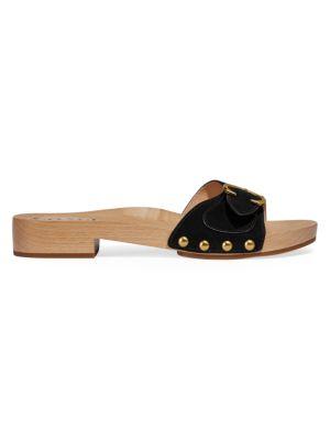 Bleeker Wooden Suede Slide Sandals
