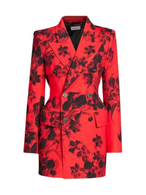 Hourglass Floral Double Breasted Blazer Jacket