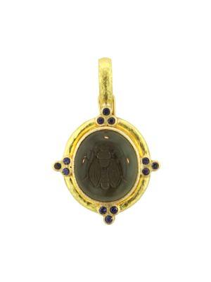 Glass Intaglio Smoke `Cabochon Honey Bee' 19K Gold Pendant