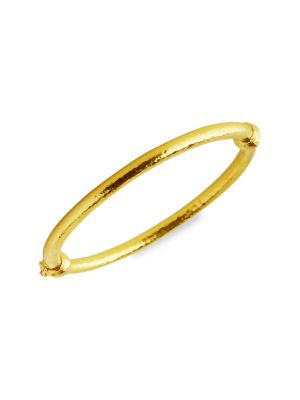 Hammered 19K Yellow Gold Wire Bangle