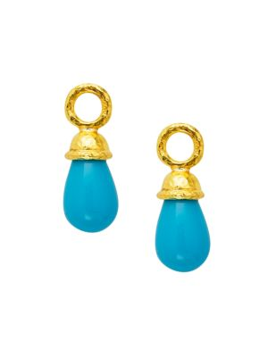 Stone 19K Yellow Gold & Sleeping Beauty Turquoise Drop Small Earring Charms