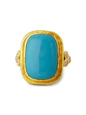 Stone 19K Yellow Gold, Sleeping Beauty Turquoise & Diamond Large Ring