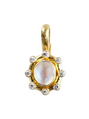 Stone 19K Yellow Gold, Moonstone & Diamond Small Pendant