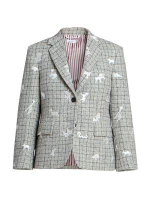 Animal-Embroidered Harris Tweed Sport Coat