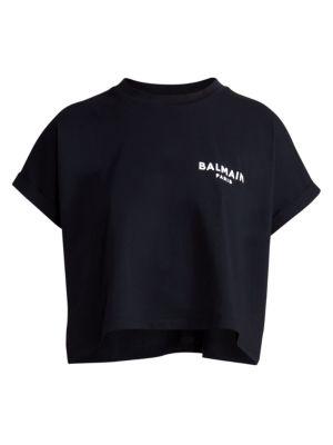 Cropped Flocked Logo Detail T-Shirt